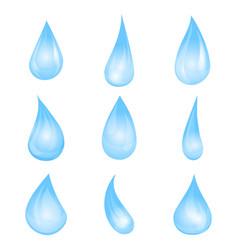 cartoon blue water drop set vector image
