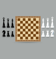 Chess piece set with chess board vector