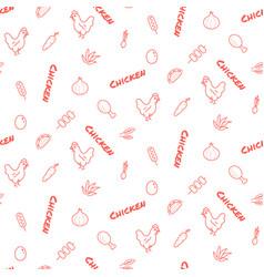 Chicken farm seamless pattern print red vector