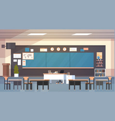 Classroom interior empty school class with board vector