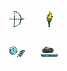 Collection of olympic games in hatching style vector