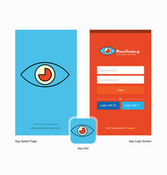 Company eye splash screen and login page design vector