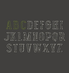 Contour serif font in the style of hand drawn vector image