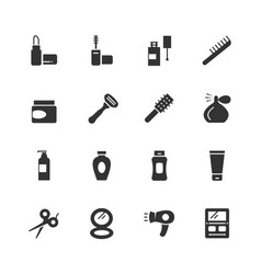 cosmetics and beauty icon set vector image