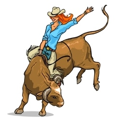 Cowgirl riding a bull Isolated vector