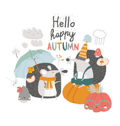 cute autumn hedgehogs with umbrella and pumpkins vector image