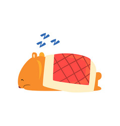 Cute cartoon hamster character snoring during vector