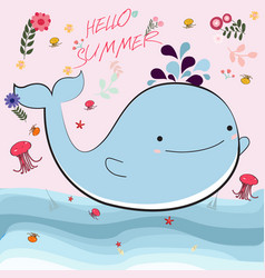 Cute whate and jellyfish cartoon for summer time vector