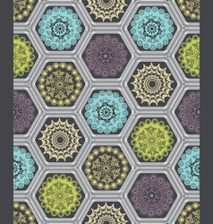 Decorated hexagon doily crochet patchwork vector