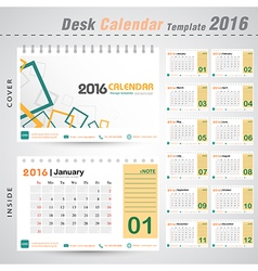 Desk calendar 2016 modern square design cover vector image