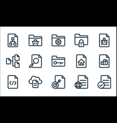Document and files line icons linear set quality vector