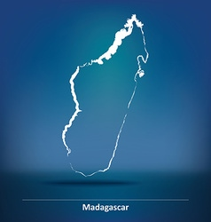 Doodle Map of Madagascar vector