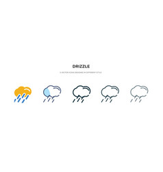 Drizzle icon in different style two colored and vector