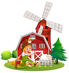 farmer in the farm with sheep and chickens vector image