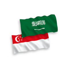 Flags saudi arabia and singapore on a white vector