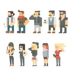 flat design hipster people set vector image