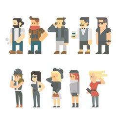 Flat design of hipster people set vector image
