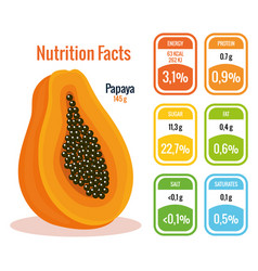 Fresh papaya with nutrition facts vector