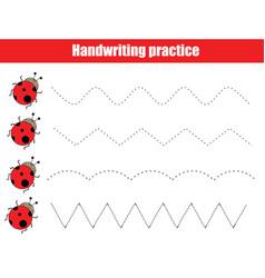 Funny ladybugs handwriting practice sheet vector