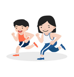 girl and boy attractive jogging vector image