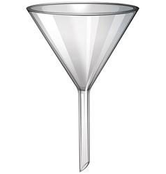 Glass funnel on white vector