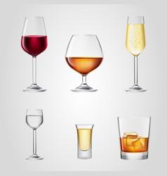 Glass wine beer alcohol beverage drink bar vector