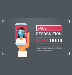 Hand hold smart phone scanning female iris face vector