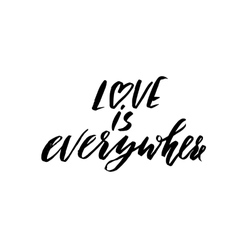 Hand lettered inspirational quote Love is vector