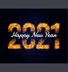Happy new year 2021 sparkles golden wishes card vector
