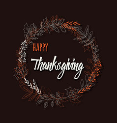 happy thanksgiving day card with flowers vector image
