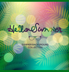 Hello summer banner lettering text palm view vector