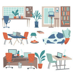 home and office workplaces interior design cozy vector image
