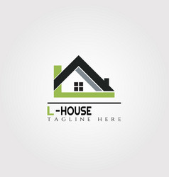 House icon template with l letter home creative vector