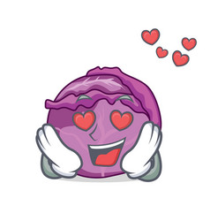 In love red cabbage mascot cartoon vector
