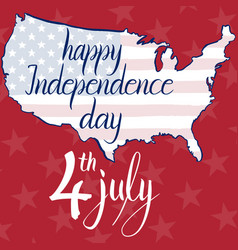 inscription happy independence day 4th july flag vector image