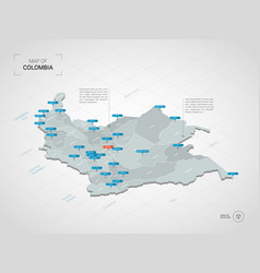 Isometric colombia map with city names and vector