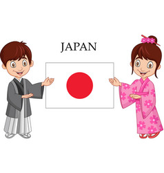 Japanese couple wearing traditional costume vector