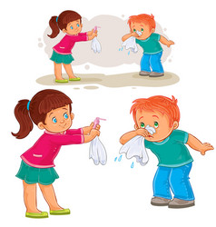 Little girl giving a handkerchief to a boy vector