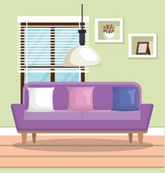 Living room scene icon vector