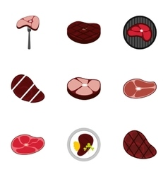 Meat icons set flat style vector
