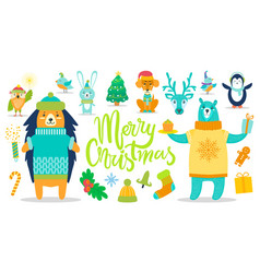 Merry christmas poster animals vector