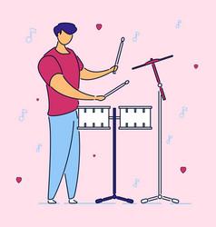 modern flat cartoon character musical band drummer vector image