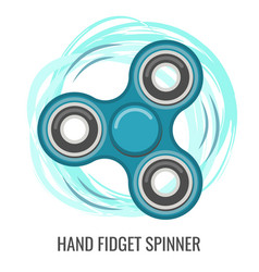 Moving hand fidget spinner color blue toy vector