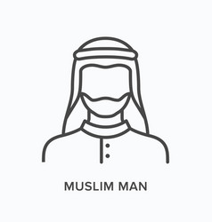 Muslim man flat line icon outline vector