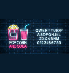 Neon glowing sign of pop corn and soda with vector