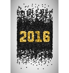 New Year 2016 Black and gold falling confetti vector