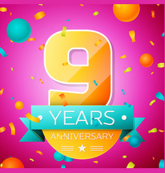 nine years anniversary celebration design banner vector image