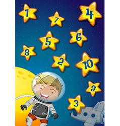 Numbers on stars with astronaunt flying in the vector