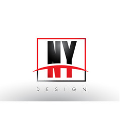 Ny n y logo letters with red and black colors and vector