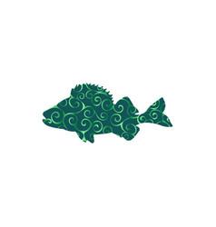 perch fish aquatic spiral pattern color silhouette vector image